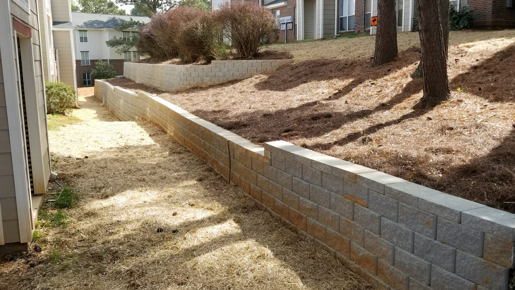 Retaining Wall Installation At A Raleigh Apartment Complex
