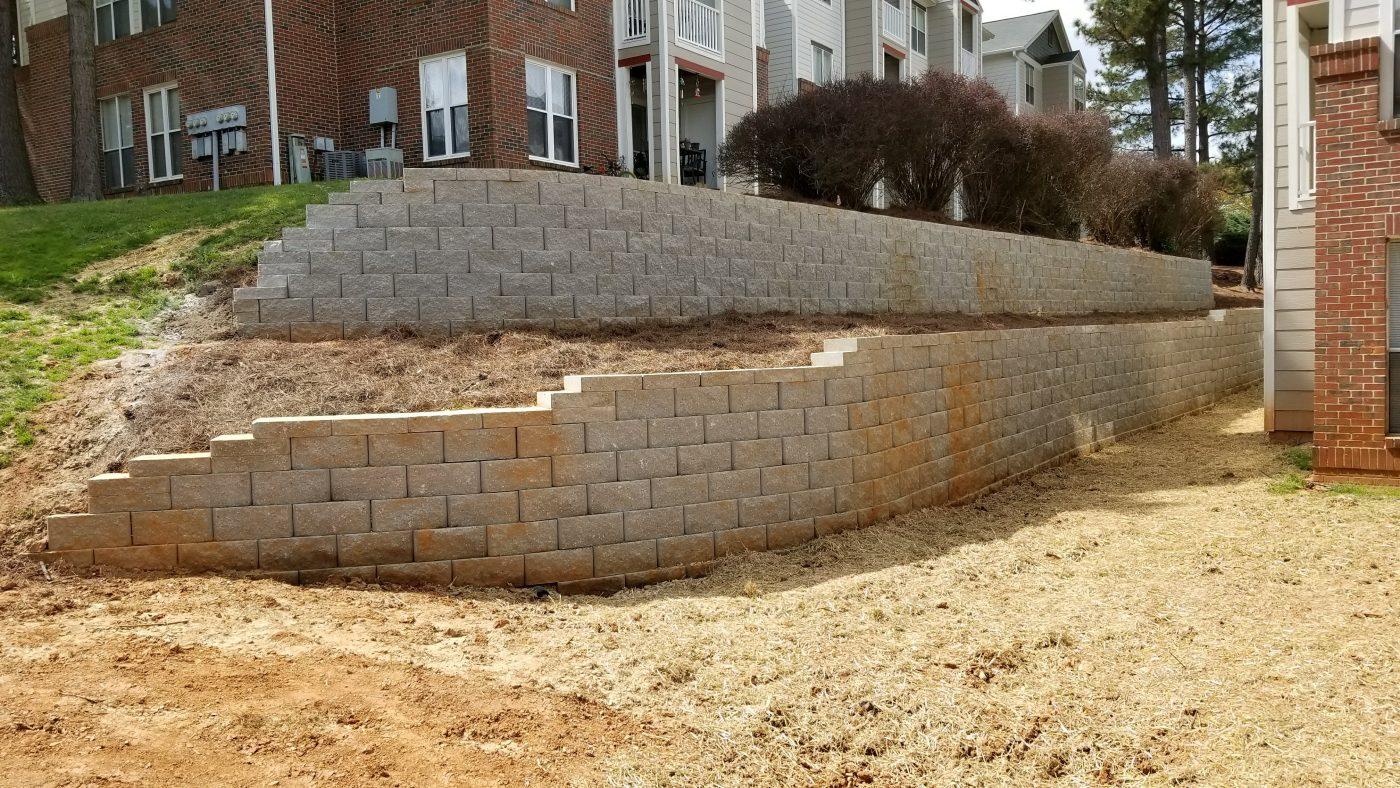 Retaining Wall Installation at a Raleigh Property - Carolina