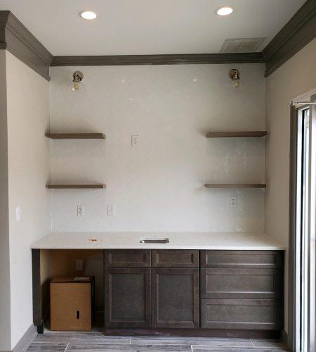 Bar lights and shelves